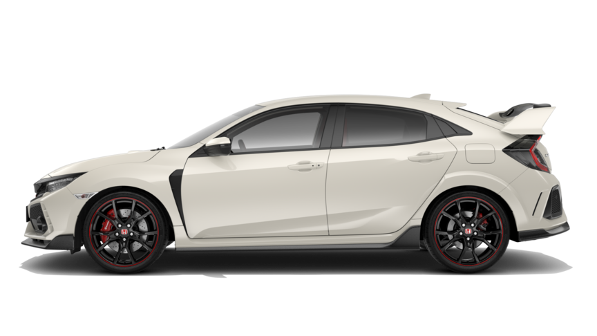 Seitenansicht des Honda Civic Type R in White Orchid Pearl.