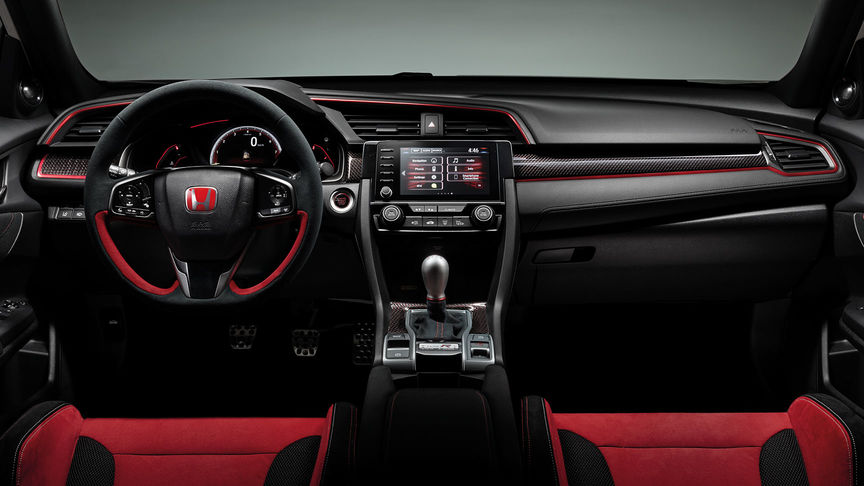 Front facing view of Honda Civic Type R dashboard with Carbon Interior pack.