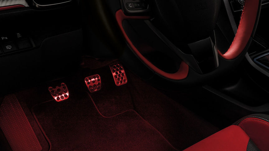Close up of Honda Civic Type R footwell with Illumination pack.