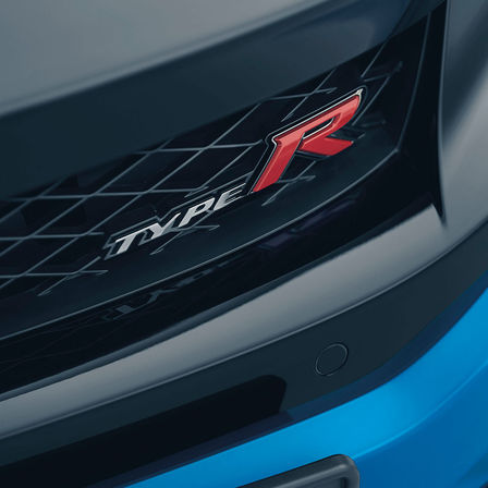 Close up Civic Type R low-deck aero spoiler.