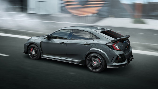 Rear facing three Quarter Grey Civic Type R GT