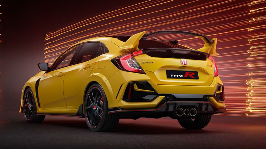 Rear facing Three Quarters Honda Civic Type R Limited Edition