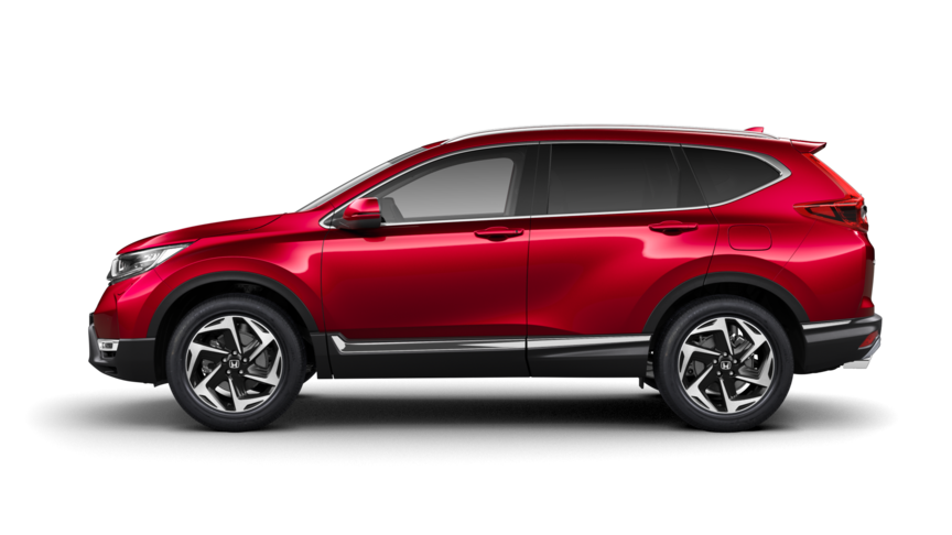 Seitenansicht Honda CR-V in Premium Crystal Red Metallic.