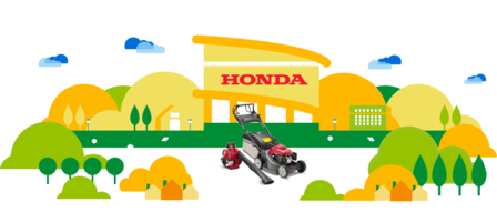 Honda dealer illustration, leafblower and lawnmower.
