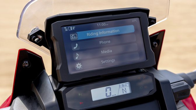 Honda Africa Twin, Nahaufnahme des TFT-Displays, Bluetooth