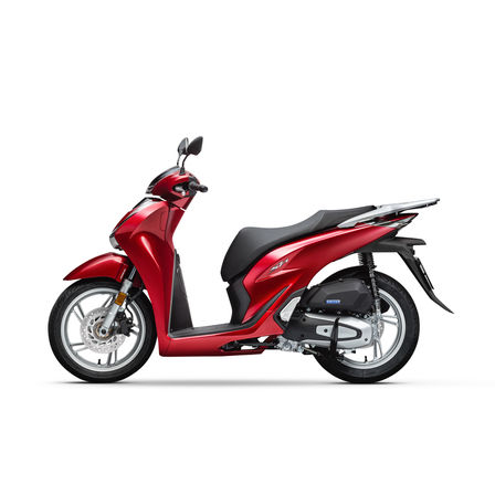 Honda SH125i, linke Seite, Modell in Pearl Splendor Red